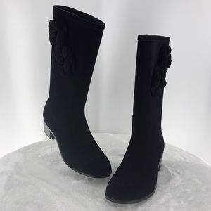 Authentic Chanel Camellia Black Velvet Boots